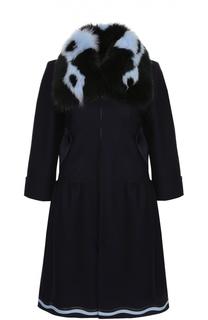 Пальто прямого кроя с укороченным рукавом и контрастной меховой отделкой Fendi