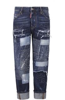 Укороченные джинсы с декоративной отделкой и отворотами Dsquared2