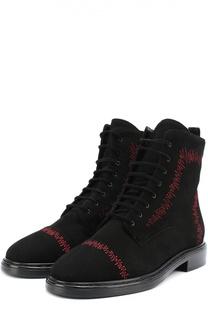 Замшевые ботинки с контрастной прострочкой Aperlai