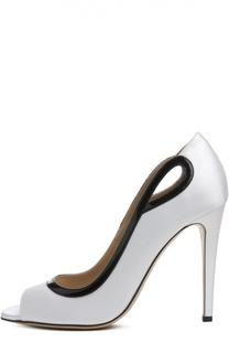Кожаные туфли с открытым мысом Armani Collezioni
