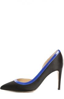 Текстильные туфли с кожаной окантовкой Armani Collezioni