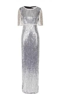 Облегающее платье-макси с пайетками и высоким разрезом Diane Von Furstenberg