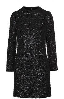 Мини-платье с длинным рукавом и пайетками Saint Laurent