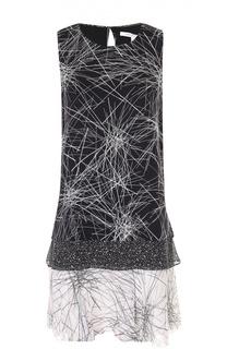 Шелковое многослойное мини-платье без рукавов Diane Von Furstenberg
