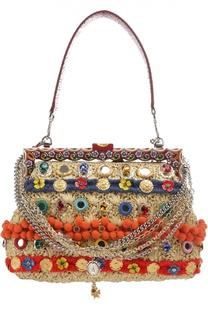 Сумка Vanda из рафии с помпонами и отделкой из питона Dolce & Gabbana