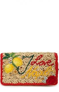 Клатч из рафии с вышивкой и набором аксессуаров Dolce & Gabbana