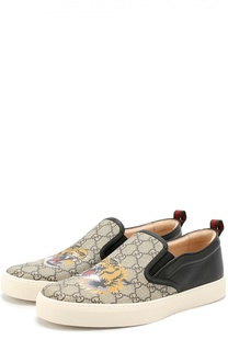 Кожаные слипоны с принтом Gucci
