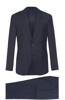 Шерстяной приталенный костюм с пиджаком на двух пуговицах BOSS