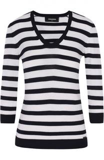Приталенный пуловер в контрастную полоску с укороченным рукавом Dsquared2