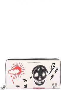 Кожаное портмоне Continental  на молнии с принтом Alexander McQueen