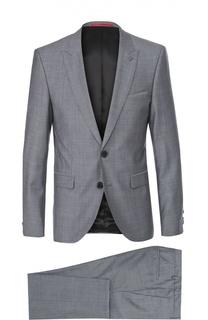 Шерстяной приталенный костюм с пиджаком на двух пуговицах HUGO