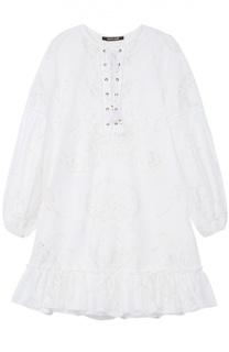 Кружевное мини-платье с расклешенными рукавами Roberto Cavalli