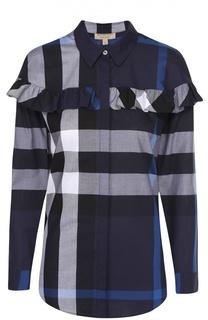 Хлопковая блуза прямого кроя в клетку с оборкой Burberry