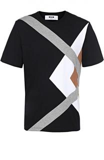 Хлопковая футболка с контрастной отделкой MSGM