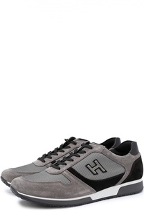 Замшевые кроссовки с текстильными вставками Hogan