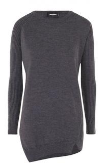 Удлиненный вязаный пуловер с круглым вырезом Dsquared2