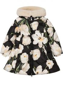 Пуховое пальто с цветочным принтом Dolce & Gabbana