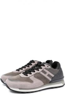 Замшевые кроссовки на шнуровке с контрастной отделкой Hogan