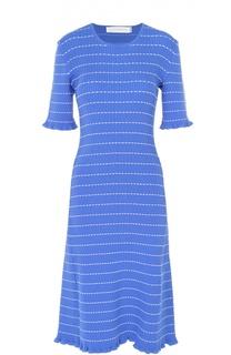 Вязаное платье-миди в контрастную полоску Victoria by Victoria Beckham