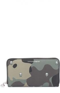 Кожаное портмоне Continental  на молнии с камуфляжным принтом Alexander McQueen
