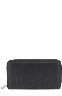 Кожаное портмоне Continental  на молнии с декоративной отделкой Alexander McQueen
