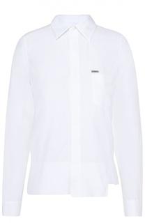 Хлопковая блуза прямого кроя с накладным карманом Dsquared2