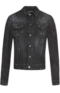 Укороченная джинсовая куртка со стразами Dsquared2