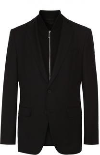 Шерстяной приталенный пиджак с декоративной подстежкой на молнии BOSS