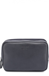 Кожаная борсетка с внешним карманом на молнии Giorgio Armani