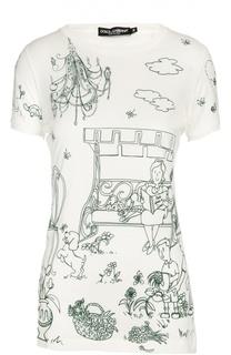 Приталенная футболка с круглым вырезом и контрастным принтом Dolce & Gabbana