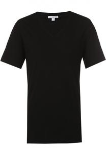 Хлопковая футболка с V-образным вырезом James Perse