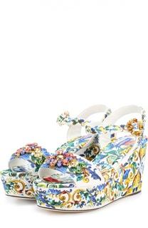Текстильные босоножки с кристаллами на танкетке Dolce & Gabbana
