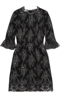 Кружевное платье с укороченным рукавом и круглым вырезом Oscar de la Renta