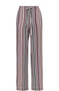 Шелковая брюки прямого кроя в полоску с эластичным поясом Theory