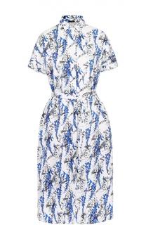 Приталенное платье-рубашка с поясом и ярким принтом Kiton