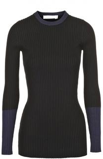 Облегающий пуловер фактурной вязки с круглым вырезом Victoria Beckham