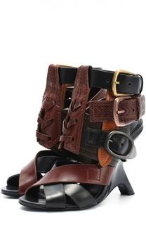 Кожаные босоножки с декоративными ремешками Tom Ford