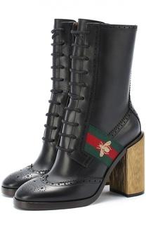 Кожаные ботильоны Karen на декорированном каблуке Gucci