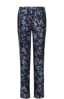 Шелковые брюки прямого кроя с эластичным поясом и цветочным принтом Burberry