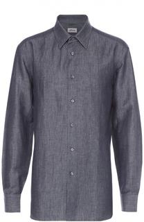 Рубашка из смеси льна и хлопка с воротником кент Brioni