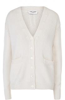 Кашемировый пуловер на пуговицах с V-образным вырезом Saint Laurent