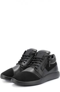 Комбинированные кроссовки с декоративной молнией Giuseppe Zanotti Design