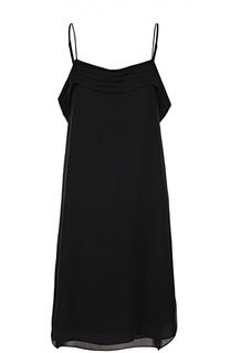 Шелковое платье с открытыми плечами и оборками T by Alexander Wang