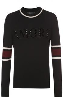 Шерстяной свитер с аппликацией Dolce & Gabbana
