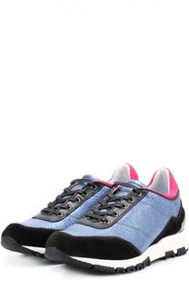 Комбинированные кроссовки с цветной вставкой Lanvin