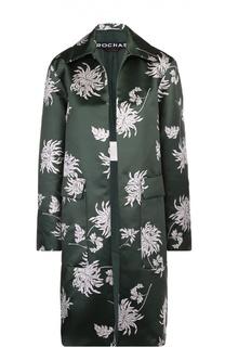 Пальто прямого кроя с накладными карманами и цветочным принтом Rochas