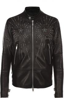 Кожаная куртка с декоративной отделкой заклепками Valentino