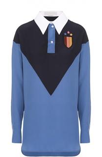 Шелковая блуза прямого кроя с контрастной отделкой Stella McCartney