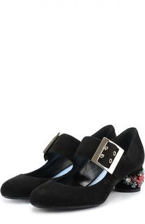 Замшевые туфли на устойчивом каблуке с декором Lanvin