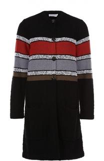Вязаное пальто с круглым вырезом в контрастную полоску Sonia Rykiel